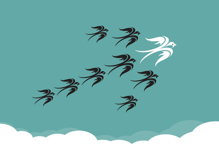 masses: Flock of birds(swallow) flying in the sky, Leadership concept