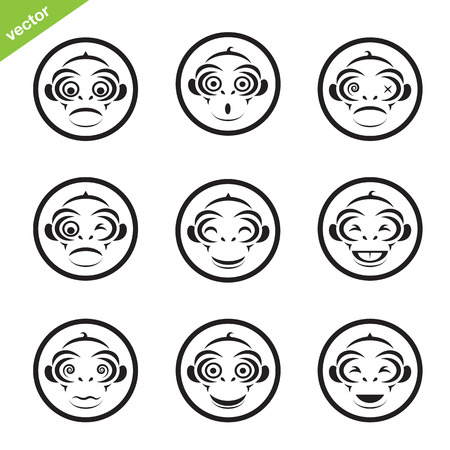 Vector group of monkey in the circle on white background Vector