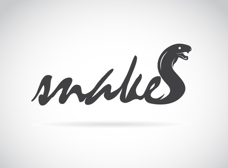 Vector design snake is text on a white background. Vector
