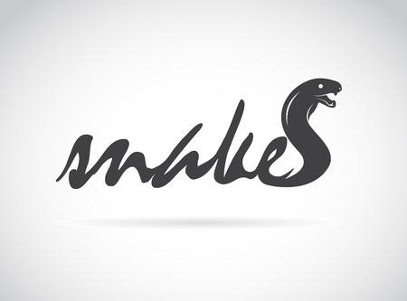 serpiente caricatura: Vector diseño de la serpiente es el texto sobre un fondo blanco.