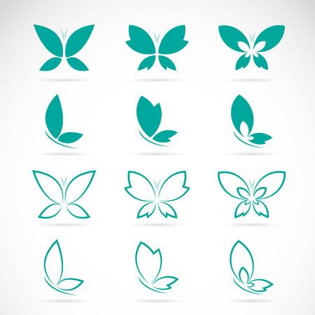mariposa caricatura: Grupo de vector de mariposa sobre fondo blanco.
