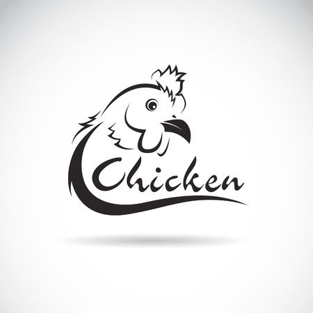 cockerel: Vector design chicken is text on a white background.