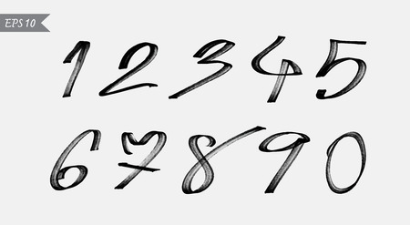 Numbers 0-9 written with a brush on a white background Vector