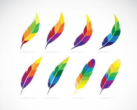 Grupo de vector de un diseño de plumas en el fondo blanco Ilustración de vector