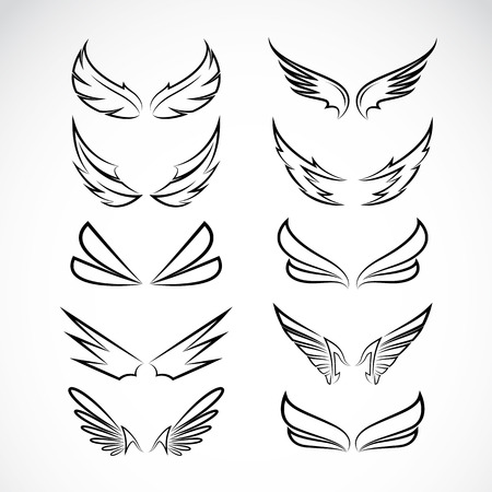 Vector black wing icons set on white background Vector
