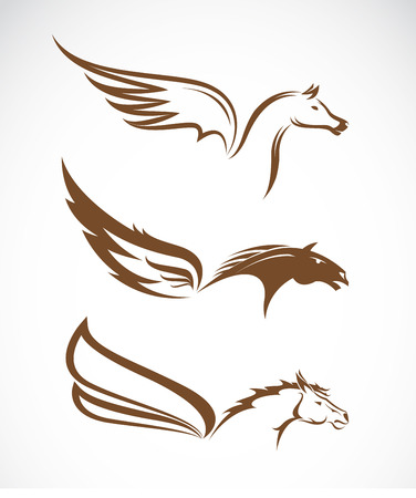 mane: Vector image of an pegasus winged horses on white background Illustration