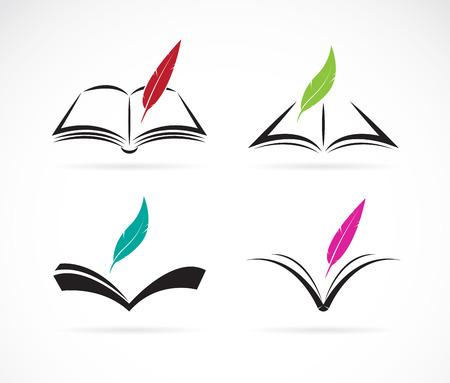 libro abierto: Imagen vectorial de un libro y la pluma en el fondo blanco Vectores