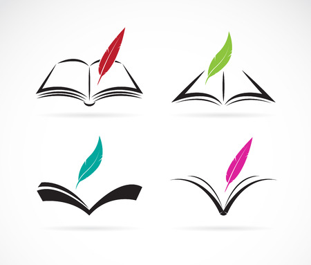 library book: Vector image of an book and feather on white background