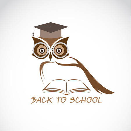 mortar cap: Vector image of an owl glasses with college hat and book