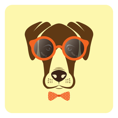 dane: Vector image of dog wearing glasses. Fashion