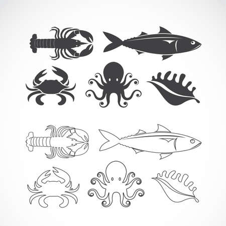 blue crab: Vector set of seafood symbols on white background