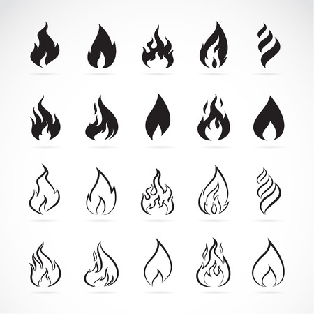 inferno: Vector set of flame symbols on white background Illustration