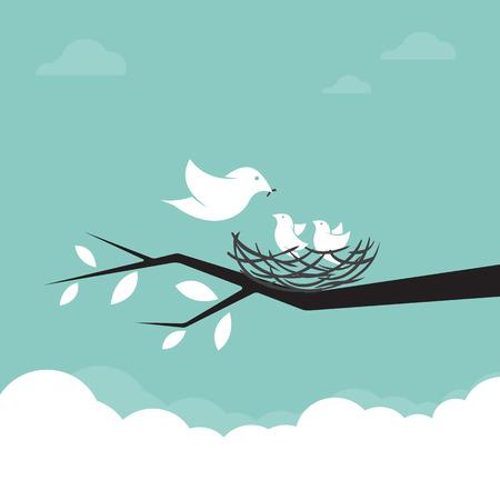 gusano caricatura: Familia de pájaros que están alimentando al bebé, ilustración.
