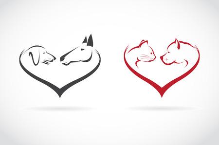 Vector image of animal on heart shape on white background, horse-dog-cat Vector