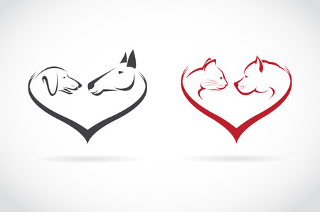 holiday pets: Vector image of animal on heart shape on white background, horse-dog-cat