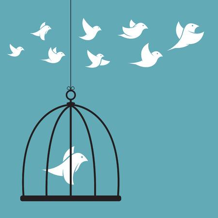 d�livrance: Vector image d'un oiseau dans la cage et l'ext�rieur de la cage. Concept de la libert�