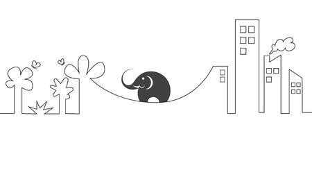 dificuldade: As imagens vetoriais de elefantes em uma corda. Conceito de dificuldade