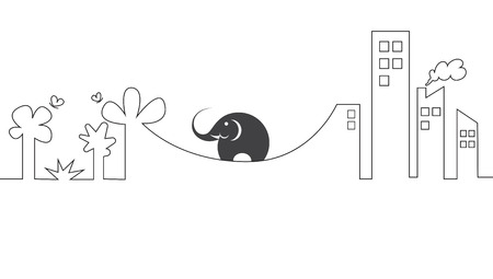 concept images: Vector images of elephants on a rope. Concept of difficulty