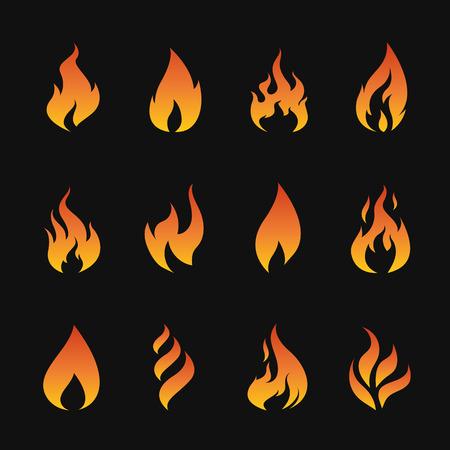 Vector set of flame symbols on black background Vector