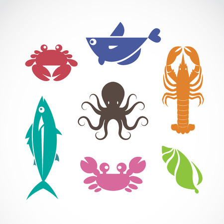 Vector set of seafood symbols on white background Vector