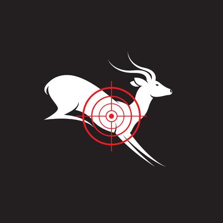 cervidae: Vector image of a deer target on a black background.