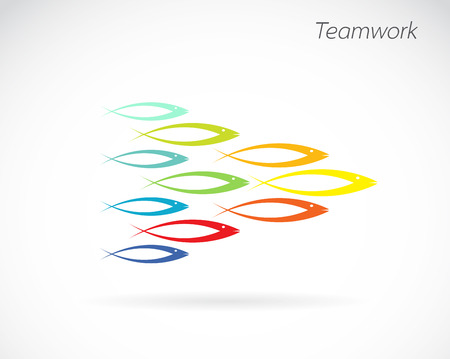 vector images: Vector images of the design of fish. Teamwork concept