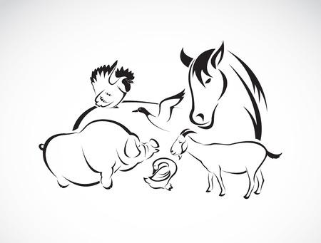 cerdos: Animales de granja Conjunto de vectores en el fondo blanco, caballo, cerdo, pollo, burro, pato, ganso