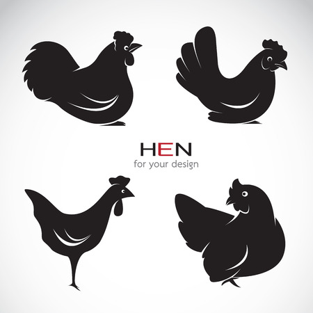 Vector group of hen design on white background.