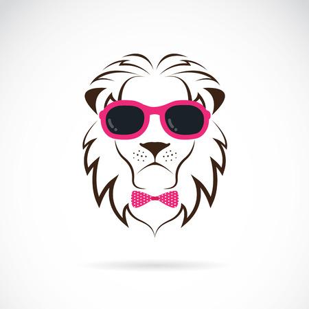 lion dessin: images de lion portant des lunettes sur fond blanc.
