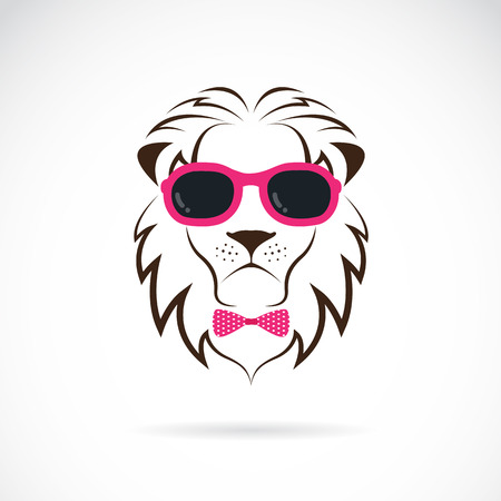 images of lion wearing sunglasses on white background. Illustration