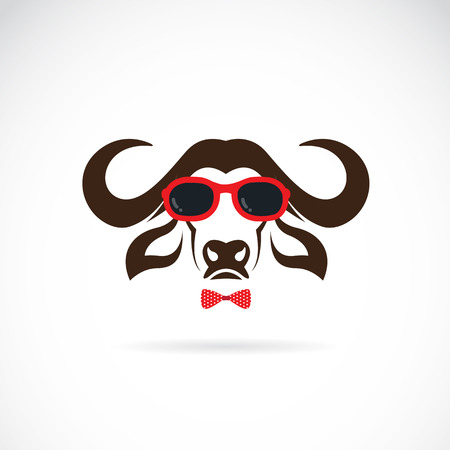 Vector images of buffalo wearing sunglasses on white background.