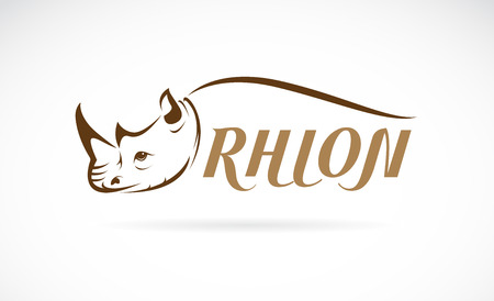 Vector image of rhino head and text on white background 일러스트