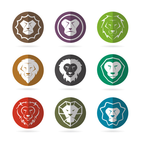 male face profile: Vector group of lion face in the circle on white background