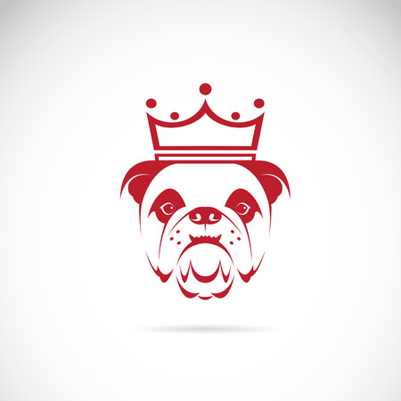 Vector image of bulldog head wearing a crown on white background.