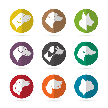 Vector group of dog in the circle on white background Vector