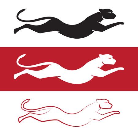 흰색 배경과 빨간색 배경에 치타의 벡터 이미지