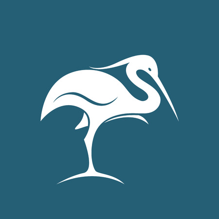 bird wing: Vector image of an stork on blue background Illustration