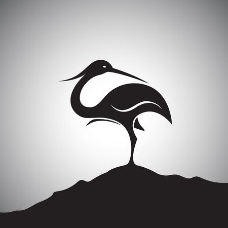 flamenco ave: Vector de imagen de una cigüeña de pie sobre las rocas.