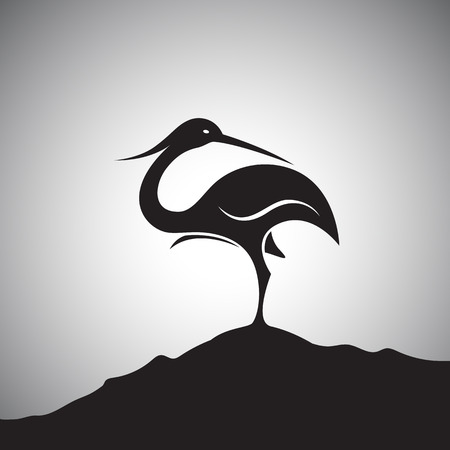 Vector image of an stork standing on the rocks. Ilustrace