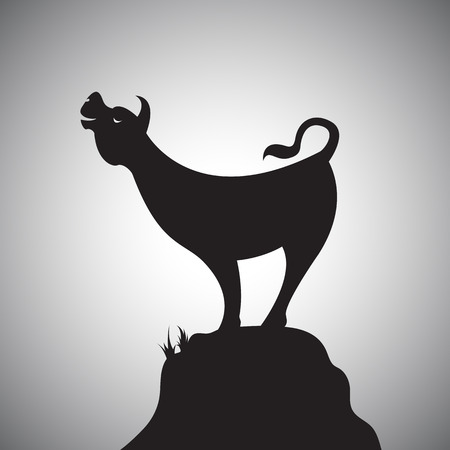 Vector image of an cow standing on the rocks. Vector
