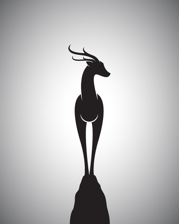 deer: Vector image of a deer standing on the rocks. Illustration