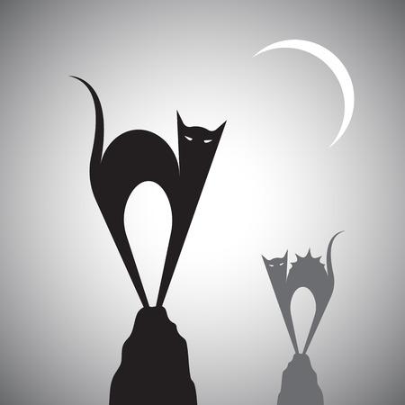 elvonult: Vektor kép egy macska állt a sziklák.