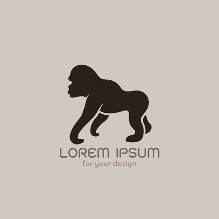 Vector image of an gorilla  design on brownish background Vector