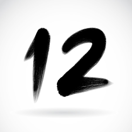 two stroke: Numbers 12 written with a brush on a white background