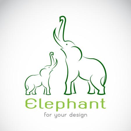 siluetas de elefantes: Vector de imagen de un elefante en un fondo blanco