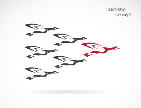 strive: Flock of wild ducks flying, Leadership concept Illustration