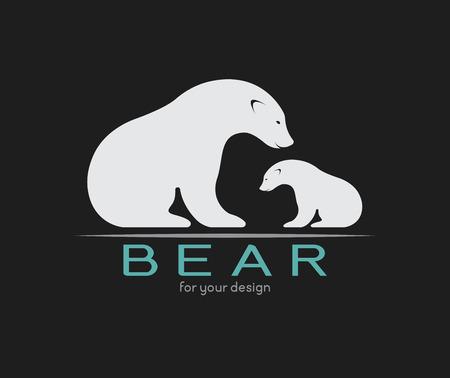 Vector afbeelding van een beer op een zwarte achtergrond