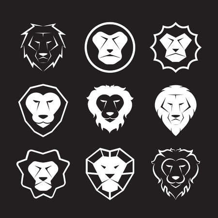 shag: Vector group of an lion head design on black background