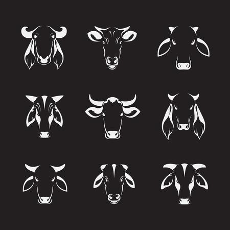 Vector set of cow head on black background Illustration