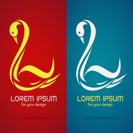 cisnes: Vector de imagen de un diseño del cisne en fondo rojo y fondo azul Símbolo Vectores
